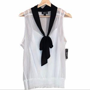 IZ Byer White Sheer Tie Font Sleeveless Top